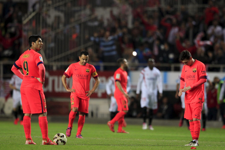 'Yan wasan Barcelona na jimame bayan Sevilla ta rama kwallaye 2