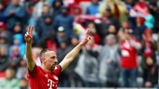 Franck Ribéry célèbre son but face à Hanovre 96 à l'Allianz Arena de Munich, le 4 mai 2019.