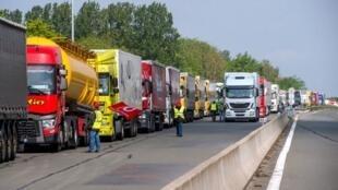 Protesto de caminhoneiros na França, em maio de 2016.
