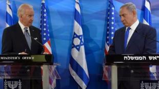 美國總統拜登與以色列總理內塔尼亞胡資料圖片