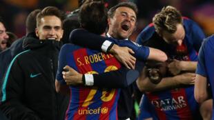 La joie des Barcelonais après leur incroyable qualification face au PSG, à Barcelone, le 8 mars 2017.