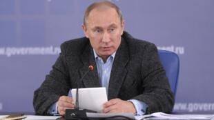 Vladimir Putin, primeiro-ministro da Rússia, durante evento na região de Lenigrado.