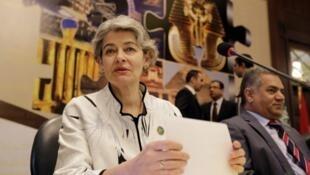 Irina Bokova  مدیر کل سازمان فرهنگی، هنری سازمان ملل متحد، و Mamdouh el-Damaty وزیر آثار تاریخی مصر در کنفرانس دو روزه بینالمللی مبارزه با تخریب آثار تاریخی که امروز در قاهره آغاز شد.