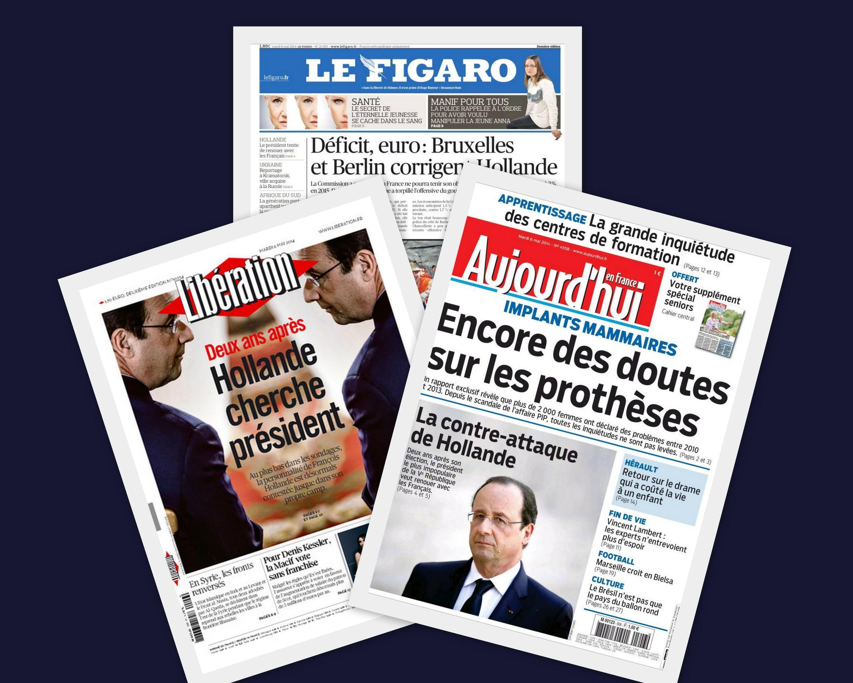 Capa dos jornais franceses Le Figaro, Liberation e Aujourd'hui en France desta terça-feira, 6 de maio de 2014