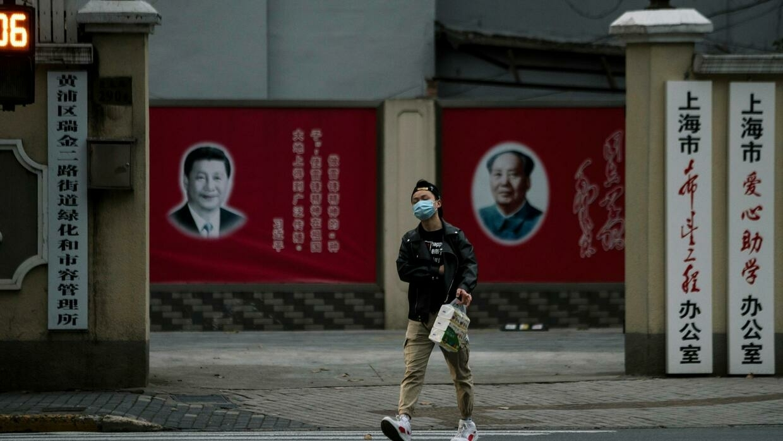Trên một phố ở Thượng Hải, Trung Quốc thời dịch virus corona. (Ảnh chụp ngày 10/02/2020)