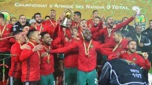Morocco ikisherehekea baada ya kushinda taji la CHAN 2018 Jumapili Februari 2018