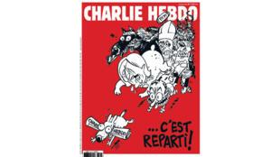 La Une de Charlie Hebdo : Charlie hebdo retrouve une parution normale avec une Une moins frontale. A l'intérieur on y trouvera un entretien avec le ministre grec des Finances.  En Grèce, le Charlie des survivants est paru entièrement traduit.