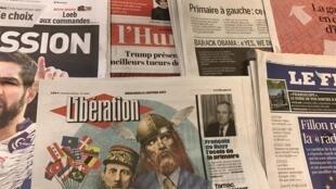 Primeiras páginas dos diários franceses 11/1/2017