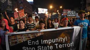 Xuống đường nhân Ngày Nhân Quyền ( Human Rights Day). Ảnh chụp tại Manila, Philippines ngày 10/12/2016.