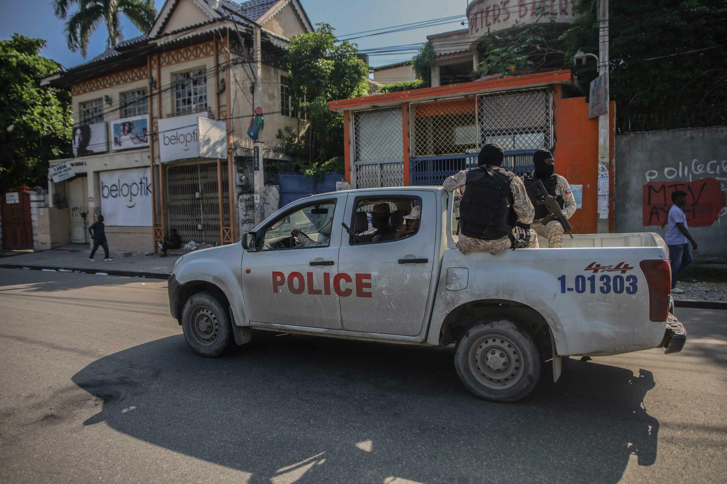 A police vehicle in the Haitian capital Port-au-Prince on  October 18 2021