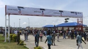 Un poste frontière entre le Bénin et le Nigeria, en octobre 2018.