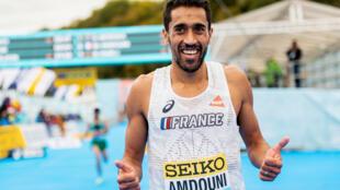 Le Français Morhad Amdouni lors des Mondiaux de semi-marathon, à Gdynia en Pologne, le 17 octobre 2020