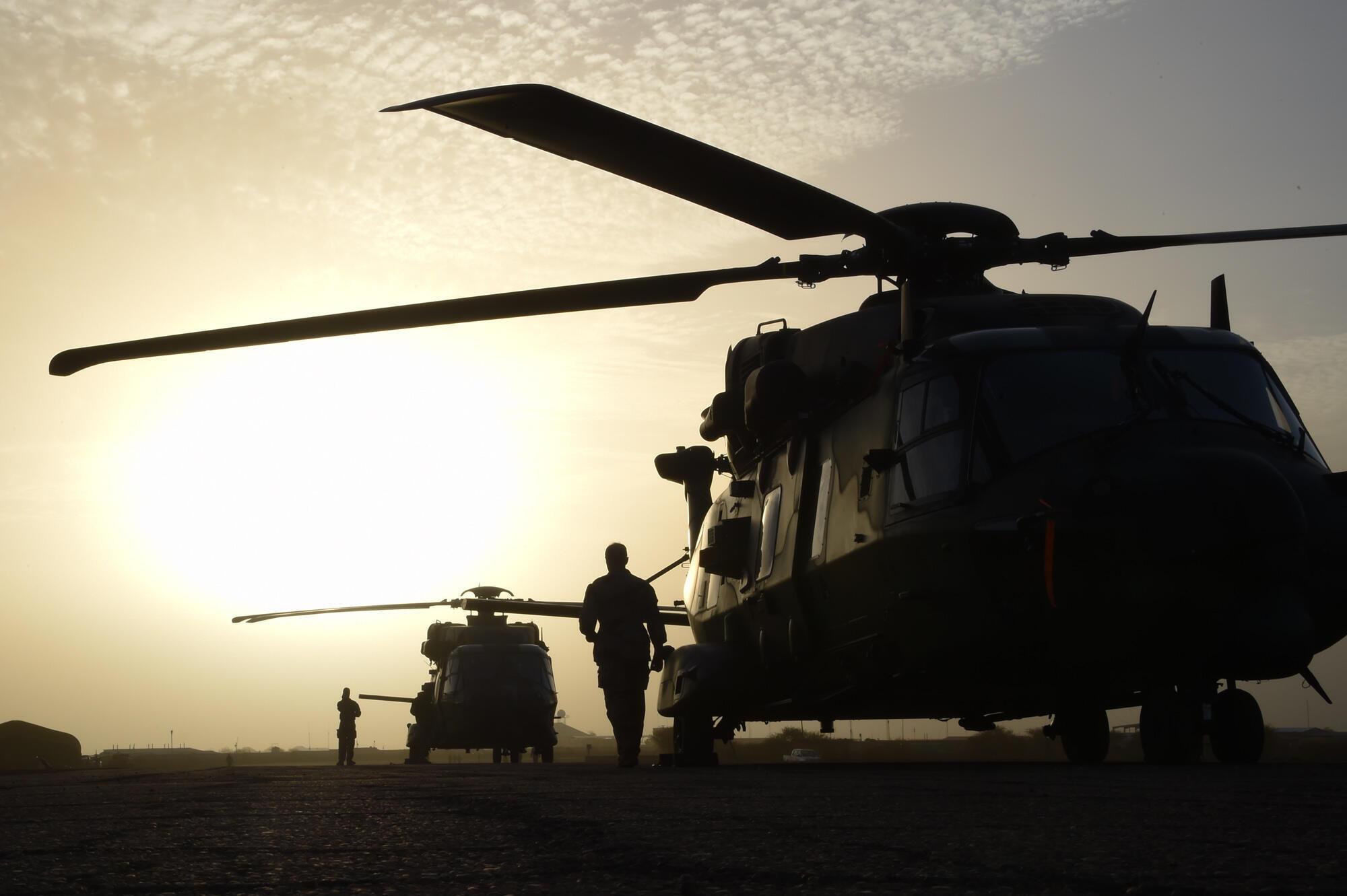 Des hélicoptères de l'armée française photographiés en janvier 2015 à Goa, au Mali.