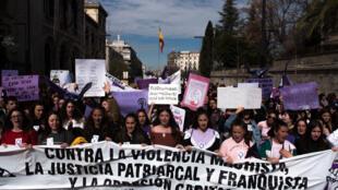 Le 8 mars 2019 mars, date de la journée de la femme, manifestations à Grenade en Espagne.