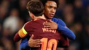 Le Brésilien Willian et l'Argentin Lionel Messi ont marqué un but lors du match Chelsea-Barcelone (1-1) du 20 février 2018