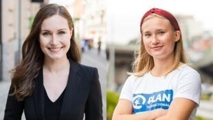 A primeira-ministra da Finlândia (esquerda), Sanna Marin, e a estudante Aava Murto.