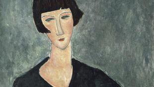 L'affiche de l'exposition d'Amedeo Modigliani au LaM, près de Lille, à Villeneuve-d'Ascq.