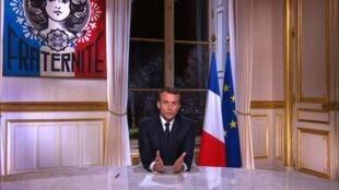 法國總統馬克龍12月31日發表新年電視講話