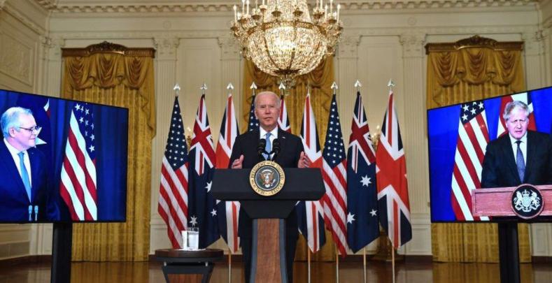 澳英美三國首腦記者會資料圖片