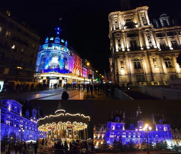 Trang trí Giáng Sinh ở Toà Đô chính Paris và cửa hàng BHV Marais