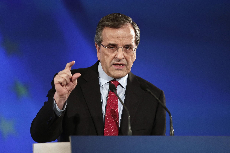 Le Premier ministre grec et leader du parti Nouvelle Démocratie a présenté ses réformes à venir, deux semaines avant les élections législatives, à Athènes, le 10 janvier 2015.