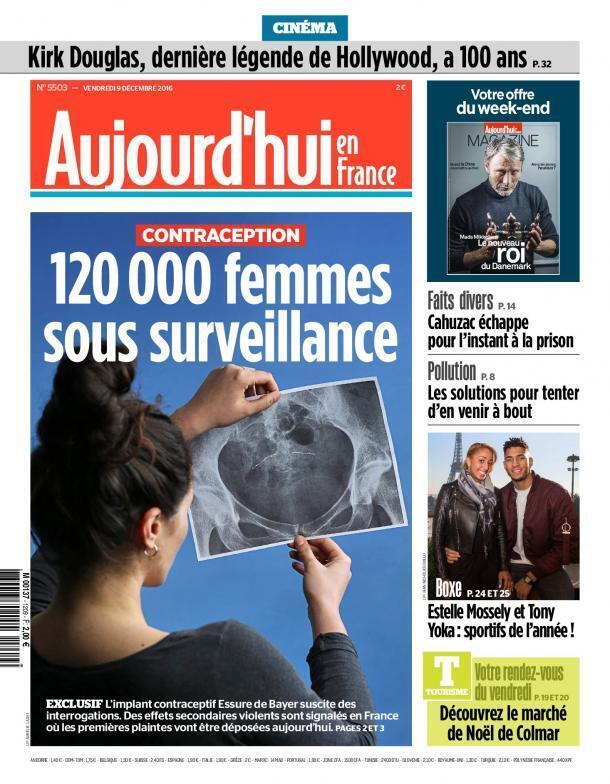Capa do jornal Aujourd'hui en France traz denúncia sobre o implante Essure.