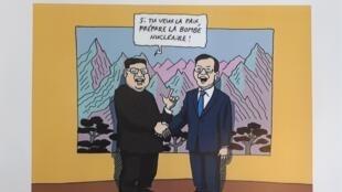 Bức hí họa về thượng đỉnh Liên Triều lần 3 trên tuần báo Courrier International.