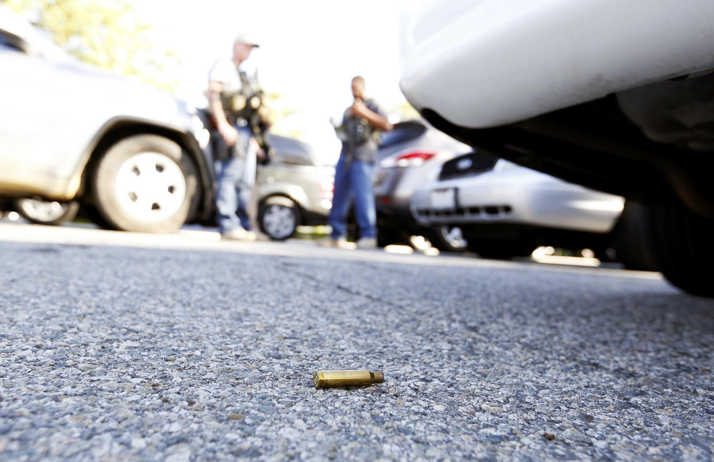 Une douille de balle trouvée au sol, sur les lieux de l'attaque de San Bernardino, le 2 décembre 2015.
