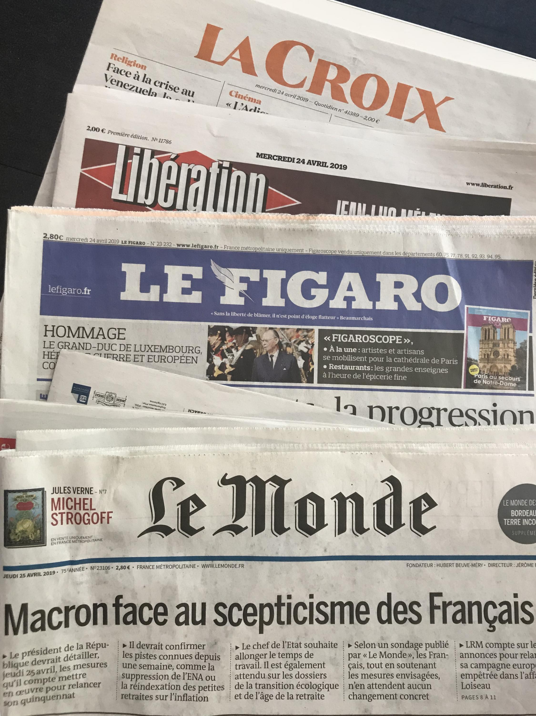 Capas dos diários franceses