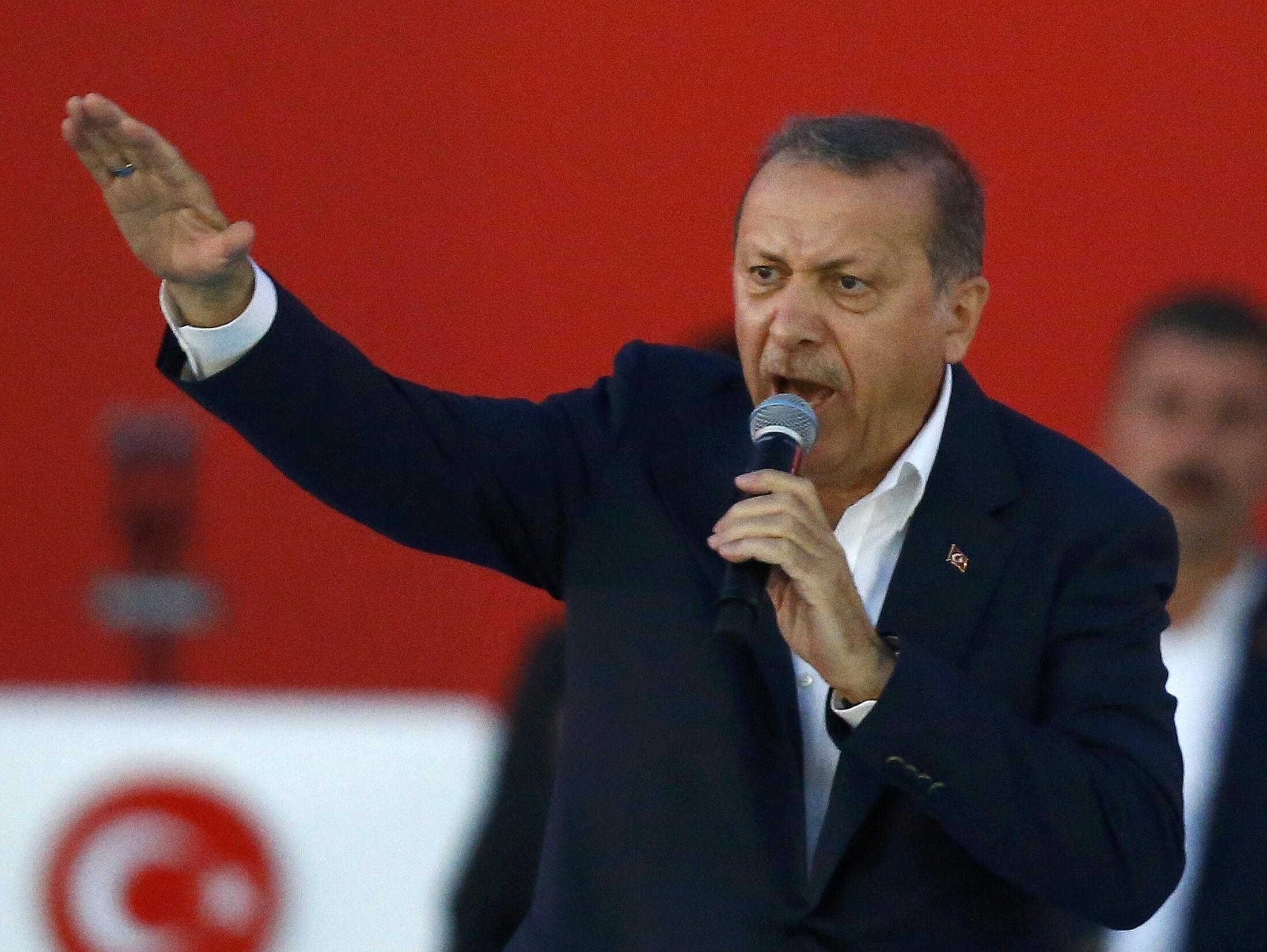 Turkish President Erdogan speaks during Democracy and Martyrs Rally in Istanbul, Turkey, August 7, 2016.