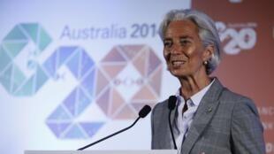 La directora del FMI, Christine Lagarde, durante el G20 de ministros de economía y gobernadores de bancos centrales, Sydney, 23 de febrero de 2014.
