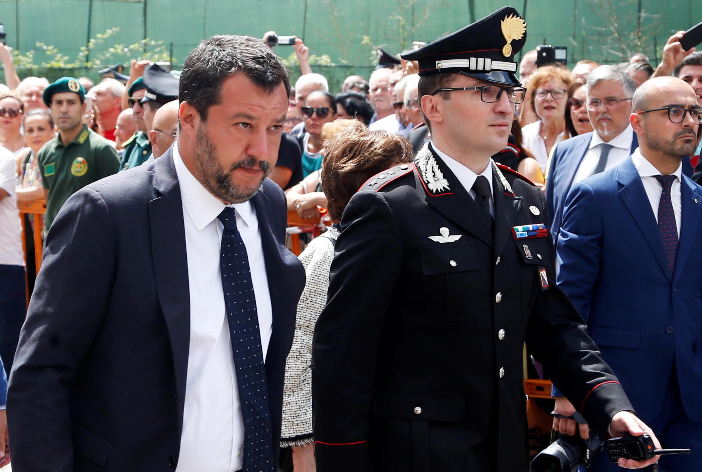 Le ministre de l'Intérieur, au moment des faits, Matteo Salvini, aux obsèques de Mario Cerciello Rega, le 29 juillet 2019.