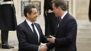 France's  Nicolas Sarkozy with the UK's David Cameron