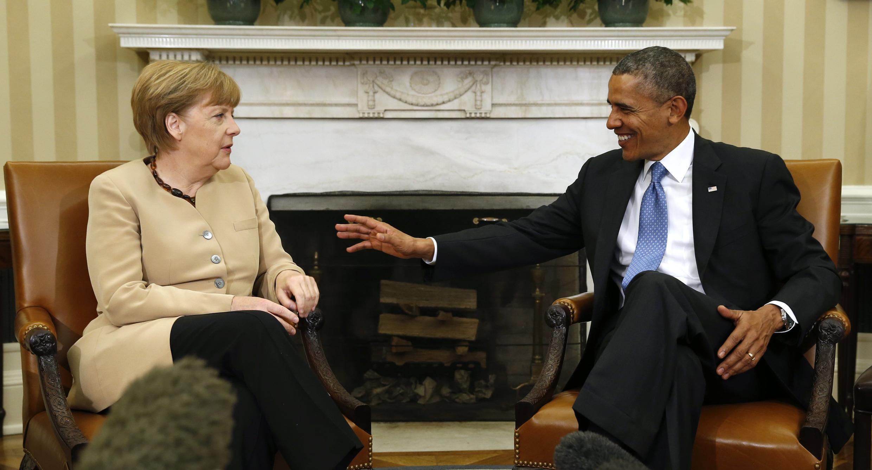 Le président américain Barack Obama et Angela Merkel, la chancelière allemande, à la Maison Blanche, ce 2 mai 2014.