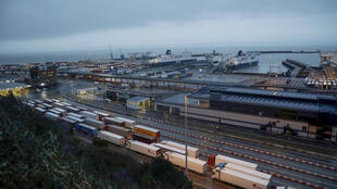 Long queues of trucks waiting at the British port of Dover.