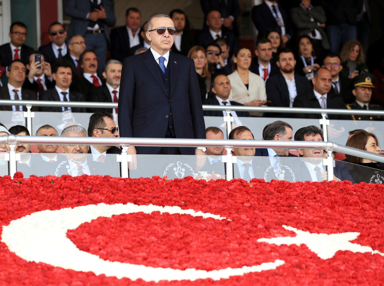 Le président turc Recep Tayyip Erdogan, lors d'une cérémonie marquant le 103ème anniversaire de la bataille de Canakkale, le 18 mars 2018.