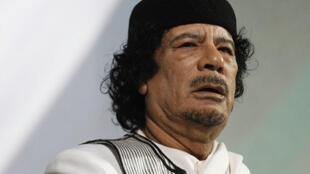El dirigente libio Muamar Kadafi durante un discurso en Roma (Italia), el 30 de agosto de 2010.