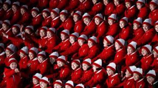 Các nữ cổ động viên xinh tươi của Bắc Triều Tiên tại Thế vận hội Pyeongchang, Hàn Quốc.