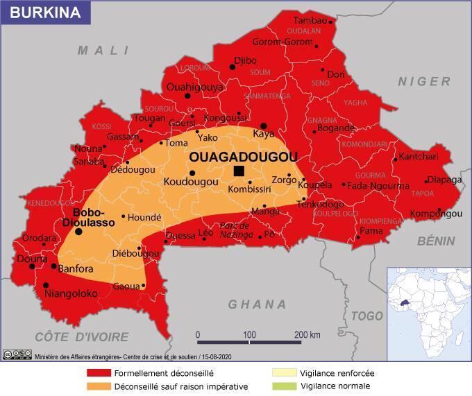 La carte réactualisée du ministère français des Affaires étrangères concernant le Burkina Faso, au 15 août 2020.