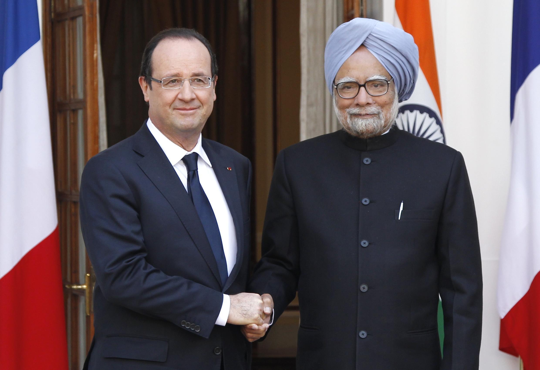 Президент Франции Франсуа Олланд и премьер-министр Индии Манмохан Сингх в Дели 14 февраля 2013.