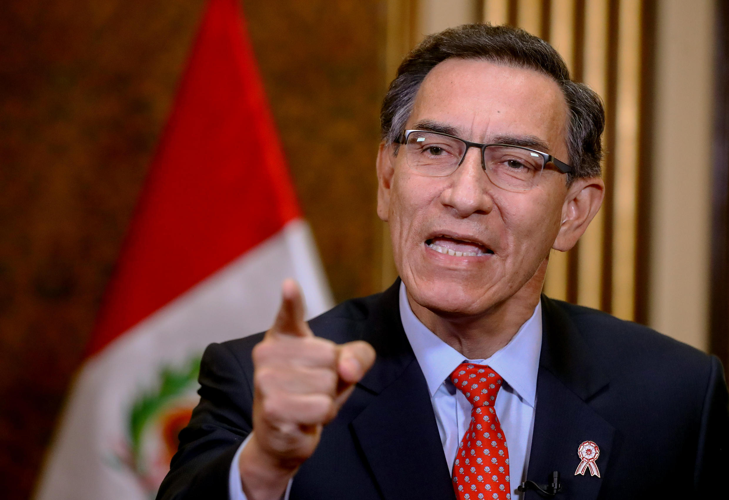 Peru's President Martín Vizcarra addressing the nation on July 5 to announce a referendum will be held in 2021 on eliminating parliamentary immunity