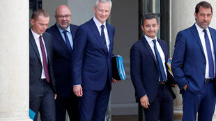 French Finance Minister Bruno Le Maire, Minister of Public Action and Accounts Gerald Darmanin, Junior Minister for the Relations with Parliament, Christophe Castaner, Agriculture Minister Stephane Travert and Junior Minister for Public Administration, Oli