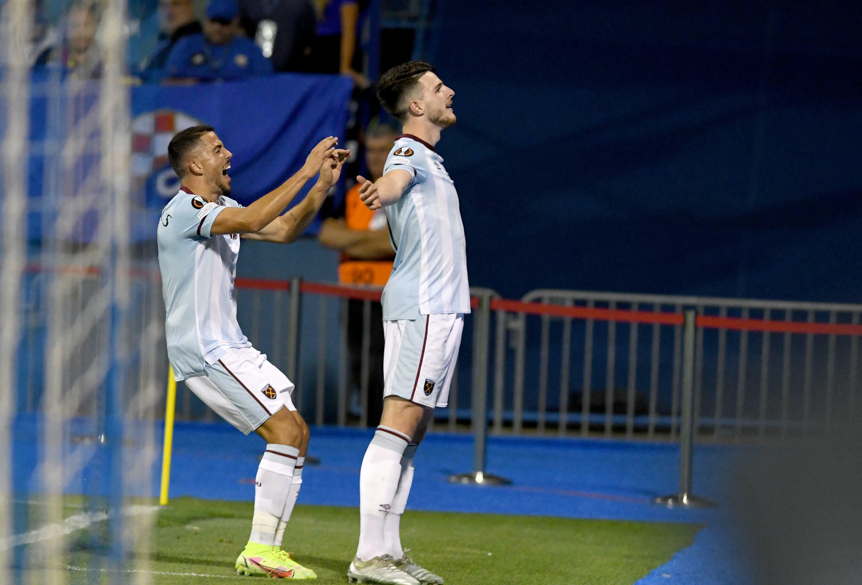 Declan Rice (right) scored in West Ham's 2-0 win over Dinamo Zagreb