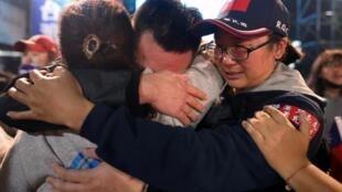 2020年台灣總統大選國民黨支持者哭泣資料圖片