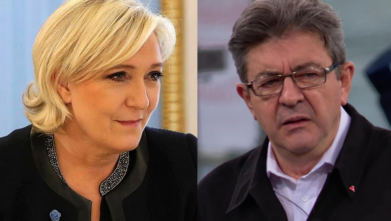 """Os franceses atraídos pelo voto de protesto"". Foto: a líder de extrema direita Marine Le Pen e o líder da França Insubmissa, Jean-Luc Mélenchon."