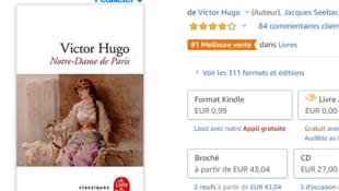 """""""Nuestra señora de París"""" encabeza la lista de los libros más vendidos por Amazon en Francia."""