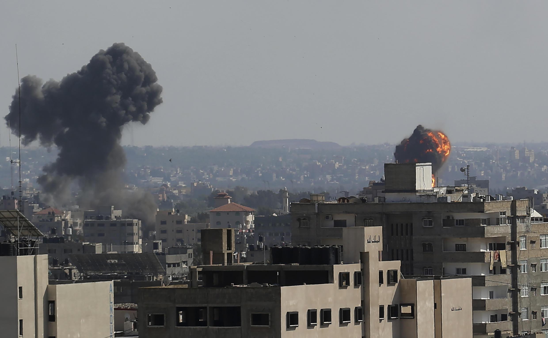 Wani yankin birnin Gaza da jiragen yakin Isra'ila suka yiwa luguden wuta.
