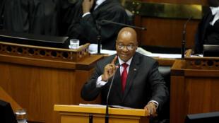 Le président sud-africain Jacob Zuma le 9 février 2017 au Cap.