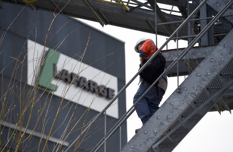 File photo outside a plant of French cement company Lafarge on 7 April, 2014 in Paris