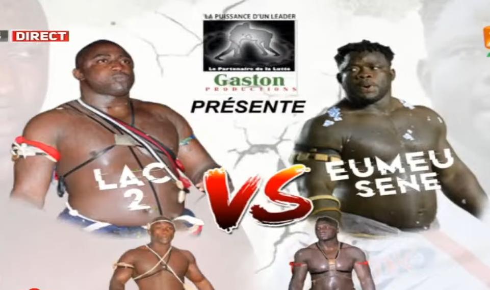 Capture d'écran de la vidéo promotionnelle du combat de lutte sénégalaise entre Lac de Guiers 2 et Eumeu-Sène.